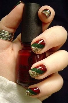 Gold glitter, red, and green striped mani