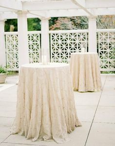 Vertigo Tablecloth Linens | Event rentals in Tallahassee Florida by At Last Florals | Poolside Goodwood Wedding Cocktail Ideas | Shannon Griffin Photo 30a Wedding Florist