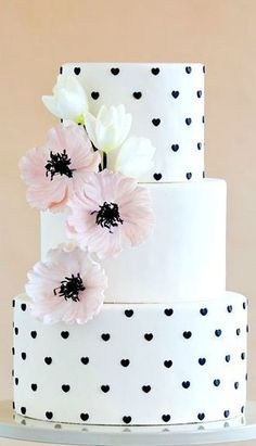 White Black Heart Pink Poppy Wedding Cake