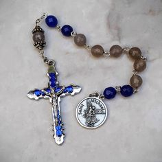 St Michael Protection, Security, Health,Happiness,Stress Blue Jade and Grey Agate Gemstone Tenner Rosary