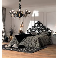 Paris Collection French Rococo black bed - Juliettes Interiors Ltd bed & bedding French Rococo, French Bed, Interior Desing, Interior Exterior, Style At Home, Bedroom Furniture, Bedroom Decor, Goth Bedroom, Black Furniture