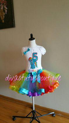 Rainbow dash inspired tutu set rainbow dash by Divastutusboutique