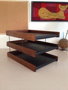 vintage1960s desk letter tray mid century modern solid walnut eames era danish