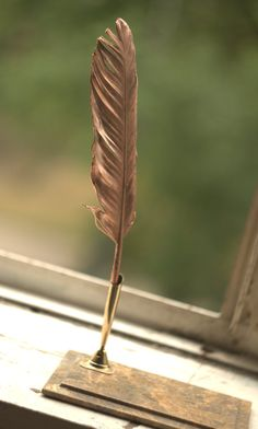 Real feather pen in metal, electroformed with copper, ball point added,OOAK,electroforming, nature inspired,wedding supply,