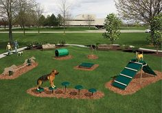 Dog park equipment and dog park agility courses from BYO Playground will help you create a dog park where your community comes together with their pets. Backyard Dog Area, Backyard Ideas, Backyard Projects, Outdoor Dog Area, Outdoor Dog Runs, Outdoor Play, Landscaping Ideas, Garden Ideas For Dogs, Dog Friendly Backyard