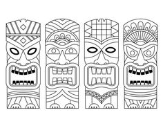 Free online tiki coloring pages to print Tiki Tattoo, Totem Tiki, Tiki Maske, Theme Carnaval, Tiki Faces, Tiki Head, Face Template, Theme Harry Potter, Mask Drawing