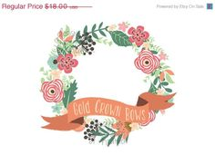 Flower Wreath Logo Design - Premade Logo - Flower Wreath with Ribbon Accent - Photography Logo, Watermark Logo, Business Card design - pinned by pin4etsy.com
