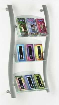 "3-Tiered Wall Literature Rack, Curved, (3)2.5""d Green-edge Trays, Dividers, Silver"