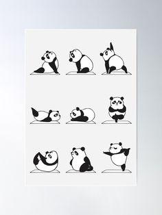 Panda Yoga Mini Art Print by huebucket