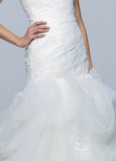 Unique Fit And Flare Wedding Dress With Tossed Tulle Skirt Hand Cut