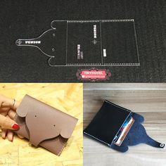Elephant Card Bag Cute Leather Craft Clear Acrylic DIY Pattern Stencil Template for sale online Leather Gifts, Leather Bags Handmade, Handmade Bags, Leather Craft, Diy Wallet, Fabric Wallet, Leather Wallet Pattern, Diy Sac, Leather Projects