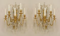 Pair of French Victorian style Cent) gilt bronze and crystal wall sconces with 5 arms emanating from a horizontal backplate with shaped crystal drops Crystal Chandeliers, Crystal Wall, Crystal Drop, Wall Sconce Lighting, Wall Sconces, French Style Decor, Victorian Lighting, Buffet Lamps, French Empire
