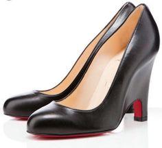 Christian Louboutin Morphing Leather Black Wedge Size 39.5 #ChristianLouboutin #PlatformsWedges