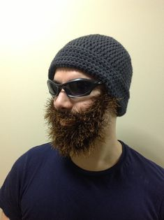 Handmade Crochet Santa Claus Beard hat, beard beanie, dark gray hat with brown beard, Irish beard, beard hat, men beard hat