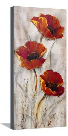 size: Art Print: Red Poppies on Taupe II by Tim O'toole : Acrylic Painting Inspiration, Acrylic Painting Flowers, Acrylic Art, Red Poppies, Red Flowers, Framed Art Prints, Fine Art Prints, Pallet Painting, Beginner Painting