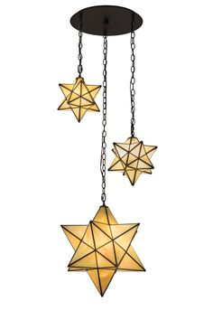 25 Inch W Moravian Star 3 Lt Cascading Pendant. 25 Inch W Moravian Star 3 Lt Cascading PendantLike looking up to a star-filled sky, this unique decorative pendant is inspired by star lights that wereoriginally used to bring good luck to European homeshundreds of years ago. This unique fixture featuresthree cascading Stars handcrafted of Beige Iridescentart glass. Custom crafted by Meyda artisans in the USA,the stars are enhanced with frames and hardware featured in an Oil Rubbed Bronze...