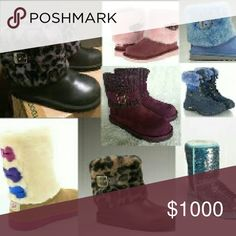 ISO PAYDAY TODAY💸💸💸 - Black cheetah Ellee ugg boots - Purple/pink Ellee ugg boots - Blue adirondack ugg snow boots - Brown cheetah Ellee ugg boots - Teal sparkle uggs -Tan Dakotas or black -White/silver bow uggs -Black/silver bow uggs - Teal bow uggs -Tan Adirondack -Tan neumal (forgot what they're called) -Tan/pink rim uggs  ❌ONLY THESE SPECIFIC UGGS IN NEW OR LIKE NEW CONDITIONS.❌  ALSO LOVE ALL SPARKLES UGGS IN NEW CONDITION Need women's size 5,6,7 Big kids 5,6   PLEASE HELP ME FIND…