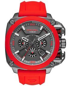Diesel Men's Chronograph Bamf Red Silicone Strap Watch 52x57mm DZ7368