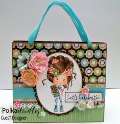 Easter treat bag with Polkadoodles digi image 'mmm chocolate'.