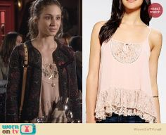 Spencer's peach lace top on Pretty Little Liars. Outfit Details: http://wornontv.net/26350 #PLL #fashion