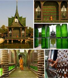 A Buddhist Temple entirely made up of glass wine and beer bottles, makes my wine bottle crafts look like child's play Recycled Bottle Crafts, Wine Bottle Crafts, Bottle House, Bottle Wall, Brown Bottles, Glass Bottles, Beer Bottles, Beer Cans, Empty Bottles