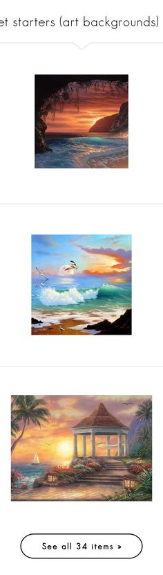 """set starters (art backgrounds) 2"" by pokeasaurousrex ❤ liked on Polyvore featuring backgrounds, water, landscape, scenery, beach, ocean, home, home decor, wall art and framed wall art"
