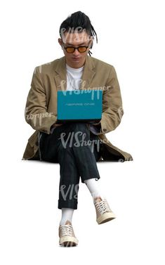 cut out young asian man sitting and working with a tablet