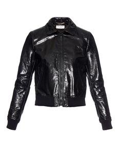 High-shine leather aviator jacket | Saint Laurent | MATCHESFASHION.COM US