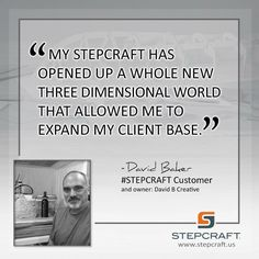 I've been a freelance designer and illustrator for decades but my creations were primarily in two dimensions. My Stepcraft opened up a whole new three dimensional world that allowed me to expand my client base. –David Baker David Baker #STEPCRAFT Customer #design #carve #create #woodworking #cnc #cncrouter #cncowners #stepcraftcnc START your own CNC business with a #STEPCRAFT #CNC #3dprinter. www.stepcraft.us info@stepcraft.us Think it, Make it.