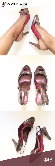 Burgundy Velvet + Leather Slingback Heels w/ Bow Burgundy crushed velvet and chocolate brown crocodile inspired leather work perfectly together on these slingbacks. The added detail--the beautiful bow on the toe. Size 8M. Heels: 3in. Brand: Gianni Bini. Listed for exposure. Vince Camuto Shoes Heels
