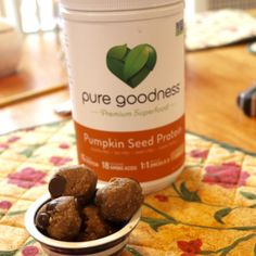 Check out these yummy protein cookie dough bites made by @beccamichellegb using the Pure Goodness Pumpkin Protein. Recipe in blog! #mypuregoodness #pumpkinseedprotein #superfoods
