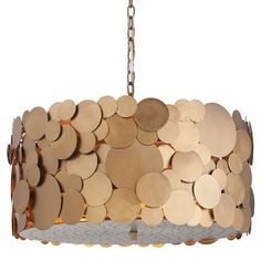 """Ulysses Drum Pendant by Arteriors: 22 x 11"""";  scattershots of light from top & bottom"""