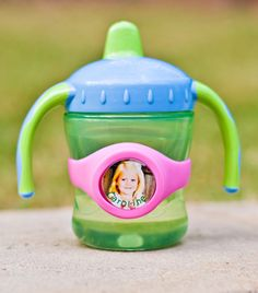 Baby Face Band - - for a child's sippy cup - - at age 1 a child can recognize a picture of himself/herself and know it is his/her cup!