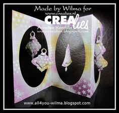 Made by Wilma: https://www.crealies.nl/detail/1335321/15-07-06-wilma-a.htm & http://www.crealies.blogspot.nl/20…/…/christmas-in-july.html Crealies items: Crea-Nest-Lies Small no. 1 Kerstbal 1/Christmas ornament 1 Crea-Nest-Lies Small no. 2 Kerstbal 2/Christmas ornament 2 Crea-Nest-Lies Small no. 3 Klok/Bell Crea-Nest-Lies XXL no. 9 Masks & More no. 12 Sterren/Stars Set of 3 stansen no. 20 Ophangoogjes/Pendants Bits & Pieces no. 4 Ink splashes Bits & Pieces no. 11 Sparkle Bits & Pieces no. 27…