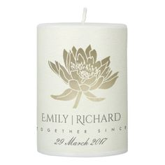 GLAMOROUS PALE GOLD WHITE LOTUS SAVE THE DATE GIFT PILLAR CANDLE - shower gifts diy customize creative