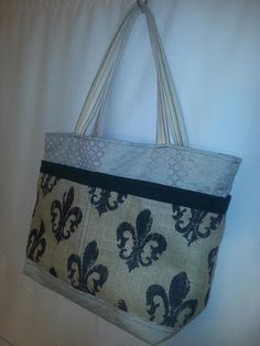 Large Burlap and Canvas Tote Bag by Lolitasgear on Etsy, $85.00