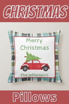 Cute Christmas themed pillows that you can customize for your family!  #Christmas #Christmaspillow #pillow #Christmasdecor #Zazzle #MissRhoadie