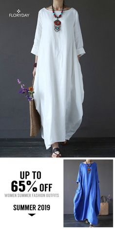Shop Floryday for affordable Dresses. Floryday offers latest ladies' Dresses collections to fit every occasion. Linen Dresses, Casual Dresses, Casual Outfits, Latest African Fashion Dresses, Women's Fashion Dresses, Abaya Fashion, Boho Fashion, Elegant Maxi Dress, Dress Sewing Patterns