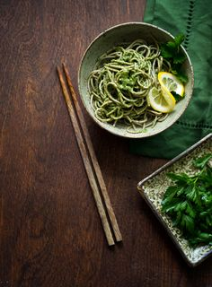 Soba and parsley pesto.