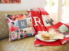 Impress friends, family and maybe even Santa Claus with your holiday home decor. This pillow and fleece blanket is customizable and make great holiday gifts. #holiday #homedecor