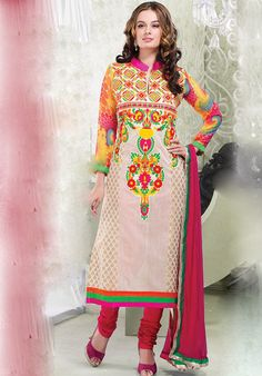 Multicoloured Long Chanderi Designer Suits http://alicolors.com/index.php?route=product/category&path=59_70