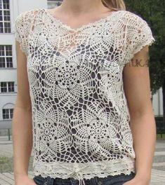 Top - diagram at site Moda Crochet, Crochet Lace, Crochet Shirt, Crochet Cardigan, Pineapple Crochet, Crochet Woman, Crochet Fashion, Lace Knitting, Beautiful Crochet