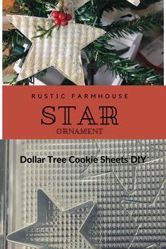 Farmhouse Christmas Ornaments Diy, Metal Christmas Tree, Dollar Tree Christmas, Christmas Ornaments To Make, Rustic Christmas, Handmade Christmas, Christmas Tree Decorations, Christmas Diy, Dollar Tree Decor