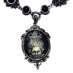 Steampunk Goth Jewelry - Necklace - Ivory on Black Lady of the Sea Cameo. $60.00, via Etsy.