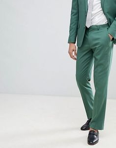 ASOS DESIGN Wedding Slim Suit Trousers In Pine Green