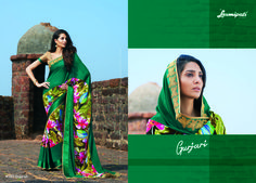 Make a glorious appearance in this soulfully radiant & modern floral design saree that is all about glow and sophistication. Includes matching dark golden blouse. #Catalogue #GURJARI Price - Rs.1992.00  #ReadyToWear #OccasionWear #Ethnicwear #GURJARI0816 #FestivalSarees #RakshaBandhan #Fashion #Fashionista #Couture #GiselleMonteiro