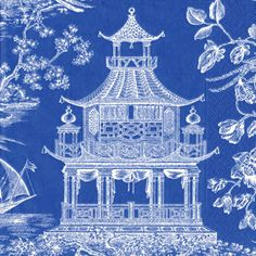 Chinoiserie. Blue and white.