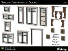 """""""Thorpe Windows and Doors Part 2"""" by Mutske. Subscriber only. Set includes 9 windows, 1 door, 1 arch, 3 curtains, and 2 shutters. Recolorable."""