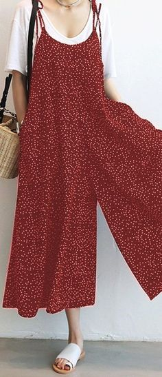 Amazing O-NEWE Casual Women Loose Dot Spaghetti Strap Jumpsuits on Newchic, there is always a plus size jumpsuits and rompers that suits you! Swimsuit With Shorts, Cool Outfits, Fashion Outfits, Pajamas Women, Sewing Clothes, Jumpsuits For Women, African Fashion, Casual, Boho