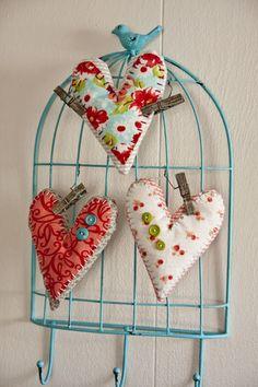 fabric hearts - cutes